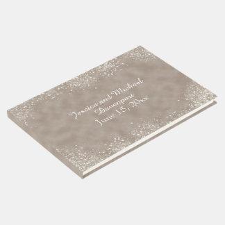 Soft Brown Stardust Wedding Guestbook