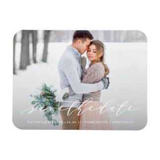Soft Calligraphy Save the Date Photo Magnet