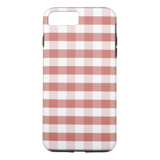 Soft Camellia Pink Gingham Check Pattern iPhone 7 Plus Case