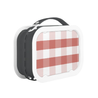 Soft Camellia Pink Gingham Check Pattern Lunch Box