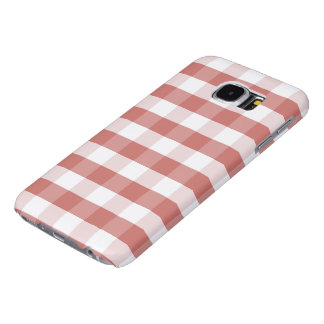 Soft Camellia Pink Gingham Check Pattern Samsung Galaxy S6 Cases