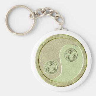 Soft Celadon Green Yin Yang Basic Round Button Key Ring