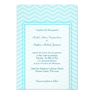Soft Chevron Aqua Blue Wedding Custom Budget 13 Cm X 18 Cm Invitation Card