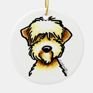 Soft Coated Wheaten Terrier Face Personalized Round Ceramic Ornament