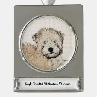 Soft-Coated Wheaten Terrier Puppy Painting Dog Art Silver Plated Banner Ornament