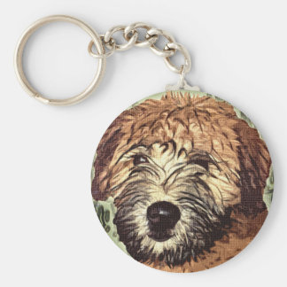 Soft-Coated Wheaten Terrier Puppy with Wet Face Key Ring
