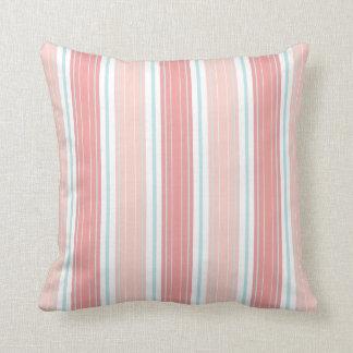 Soft Coral & Aqua on White Shabby Chic Stripes Throw Pillow