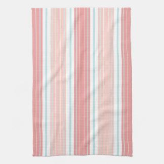 Soft Coral Aqua & Tan on White Shabby Chic Stripes Tea Towel