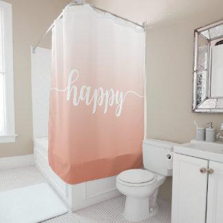 Soft Coral Handwritten Happy Quote Shower Curtain