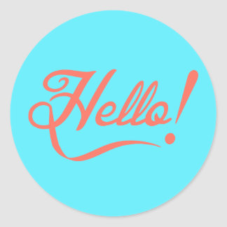 Soft cyan and Bittersweet Hello Classic Round Sticker