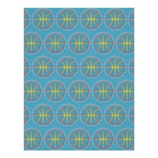 Soft cyan basketballs personalized flyer