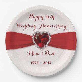 Soft Damask 40th Wedding Anniversary Paper Plate
