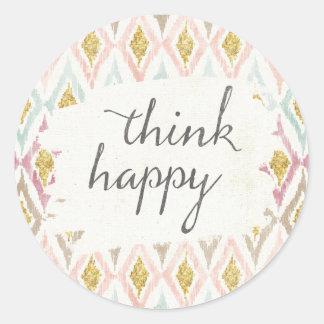 Soft Deco V | Think Happy Classic Round Sticker