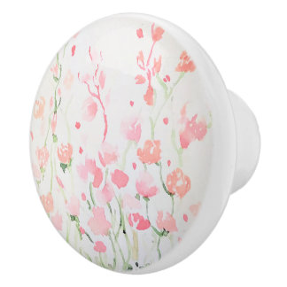 Soft Delicate Pink and Green Watercolor Flowers Ceramic Knob