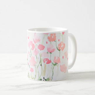Soft Delicate Pink and Green Watercolor Flowers Coffee Mug