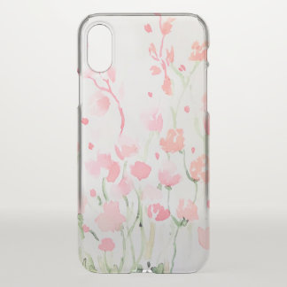 Soft Delicate Pink and Green Watercolor Flowers iPhone X Case