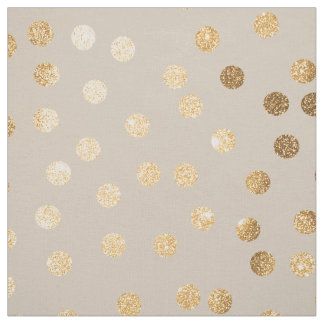 Soft Ecru and Gold Glitter City Dots Fabric