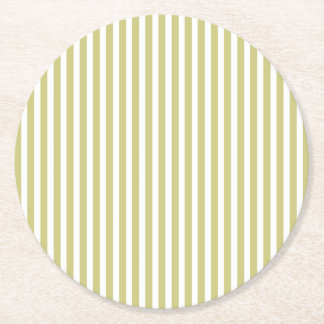Soft Fern Green And White Cabana Stripe Pattern Round Paper Coaster
