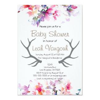 Soft Floral & Antler Baby Shower Invitation