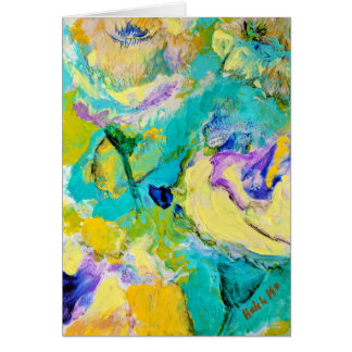 Soft floral - blue, silver, yellow card