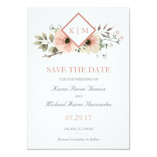 Soft Floral Save the Date Card