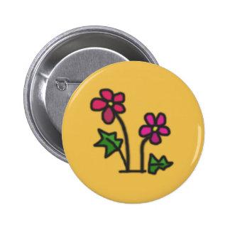 Soft flower 6 cm round badge