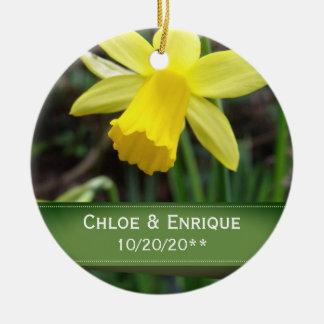 Soft Focus Daffodil Personalized Wedding Ceramic Ornament