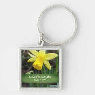 Soft Focus Daffodil Personalized Wedding Key Ring