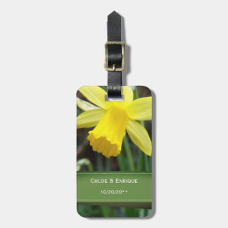Soft Focus Daffodil Personalized Wedding Luggage Tag