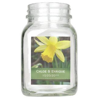 Soft Focus Daffodil Personalized Wedding Mason Jar