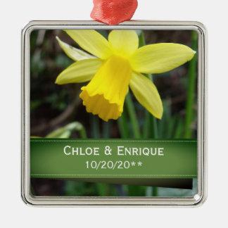 Soft Focus Daffodil Personalized Wedding Metal Ornament
