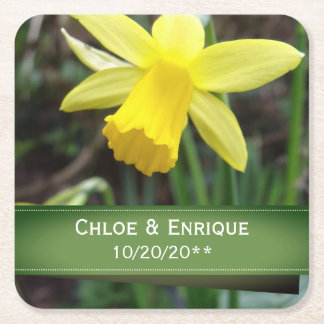Soft Focus Daffodil Personalized Wedding Square Paper Coaster