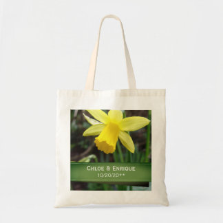 Soft Focus Daffodil Personalized Wedding Tote Bag