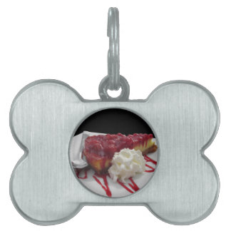 Soft fruits cheesecake with fresh berries pet ID tag
