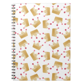 Soft Gold Gradient Princess Crown Pattern Notebook