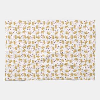 Soft Gold Gradient Princess Crown Pattern Tea Towel