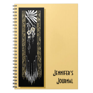 Soft Gold With Black Art Deco Decoration Notebooks