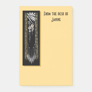 Soft Gold With Black Art Deco Decoration Post-it Notes