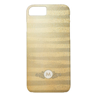 Soft Golden Stripes Circle Monogram Case for Her