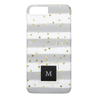 Soft Gray and White Watercolor Stripes with Gold iPhone 8 Plus/7 Plus Case