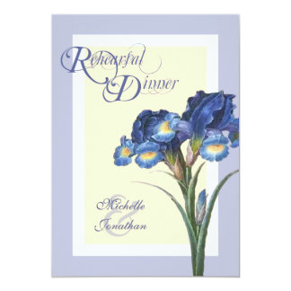 Soft Gray Blue Iris Rehearsal Dinner Invitations