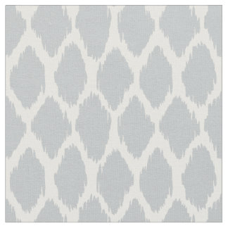 Soft Gray Ikat Ogee Pattern Fabric