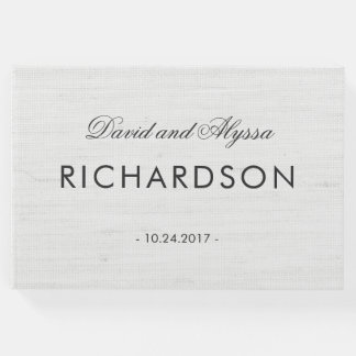 Soft Gray Linen Look with Elegant Black Text Guest Book
