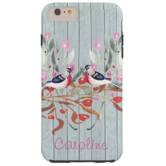 Soft Gray Wood Barn Effect Birds Flowers Name Tough iPhone 6 Plus Case