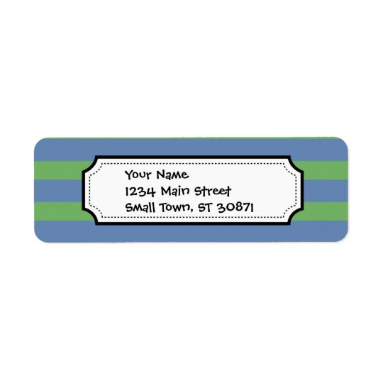 Soft Green and Blue Purple Striped Pattern Return Address Label