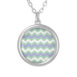 Soft Green and Blues Zigzags Round Pendant Necklace