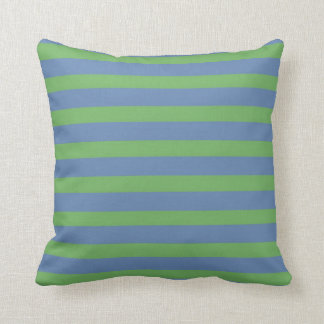 Soft Green and Periwinkle Striped Pattern Cushion