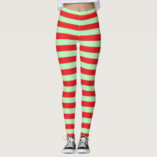 Soft Green and Red Stripes Leggings