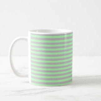 Soft Green and Silver Stripes Coffee Mug
