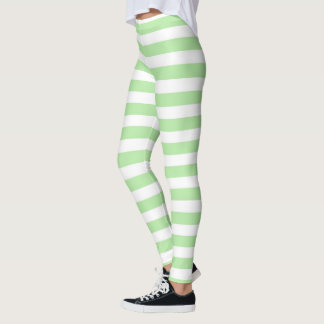 Soft Green and White Stripes Leggings